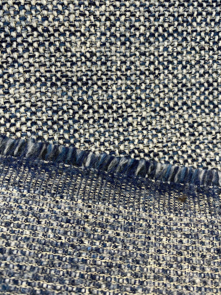 Swavelle Chenille Ridge Blue Ink Latex Backed Upholstery Fabric