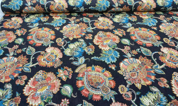 Swavelle Jacobean Floral Black Yarrow Gem Fabric