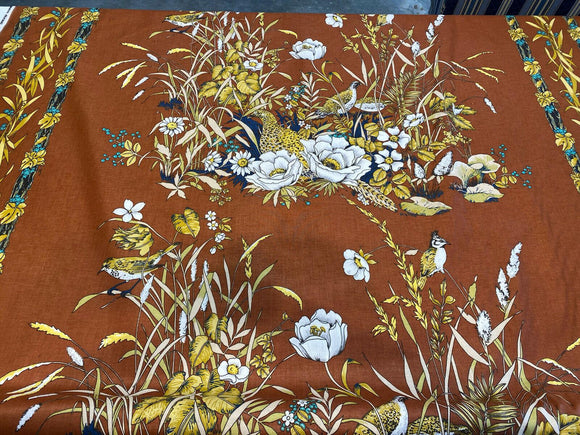 Design Resource Age of Birds Copper Gold Floral Fabric by the Yard