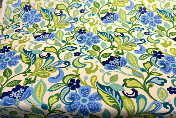 Outdoor Solarium Garden Floral Lagoon Blue Richloom Fabric