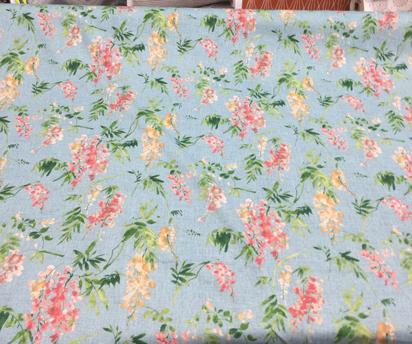 Floral Elegance Blue Mill Creek Solita Printed Drapery Fabric
