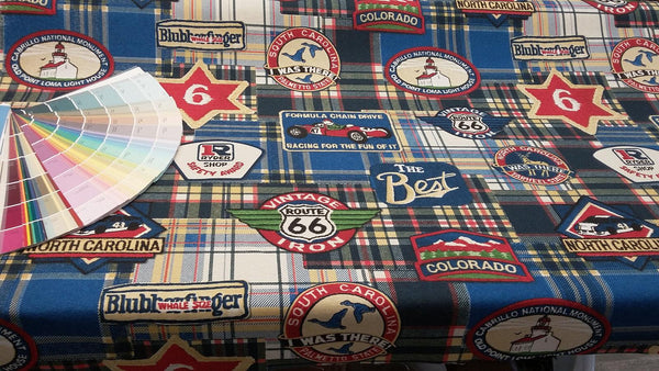 Colorado North carolina Cars Vintage Route 66 Cotton Drapery upholstery Fabric