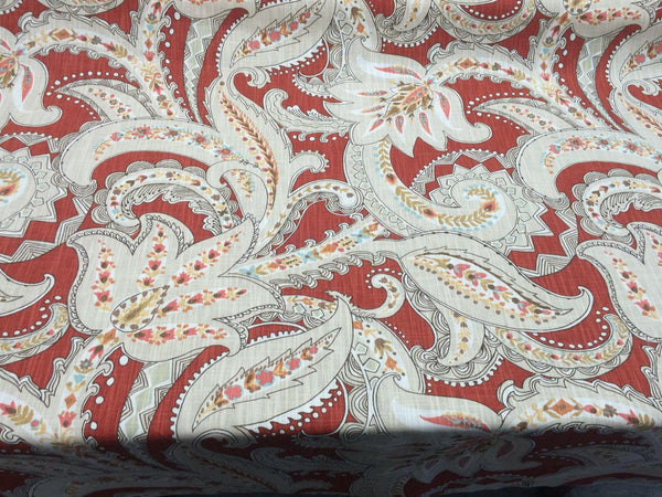 Kaufmann Paisley Pop Printed Linen Drapery Fabric in Pomegranate By the Yard