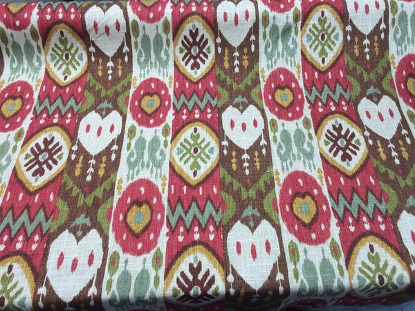 Tribal Print Cotton - Linen Richloom Red Green Gold By the Yard 60''
