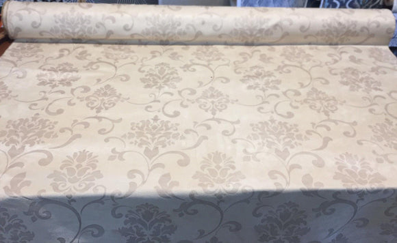 Damask Embossed French Cream Suede Fabric by the yard
