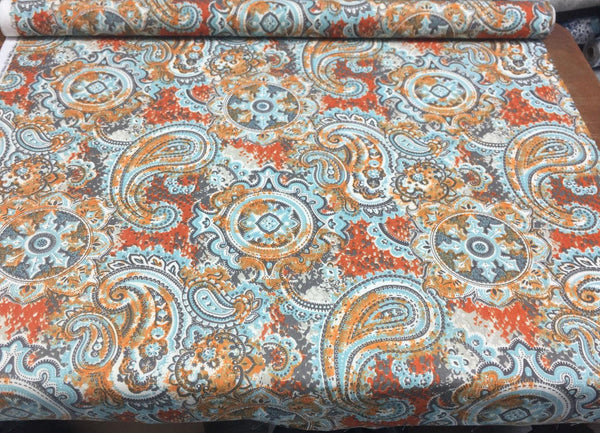 45'' Mill Creek Skimpole lagoon Paisley Fabric By the Yard