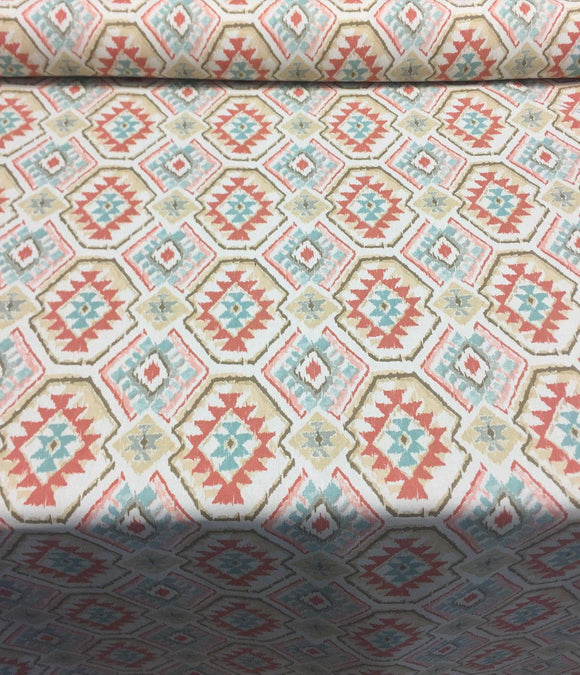 45'' Mill Creek Epachi Panorama Peach Spice Ethnic fabric by the yard