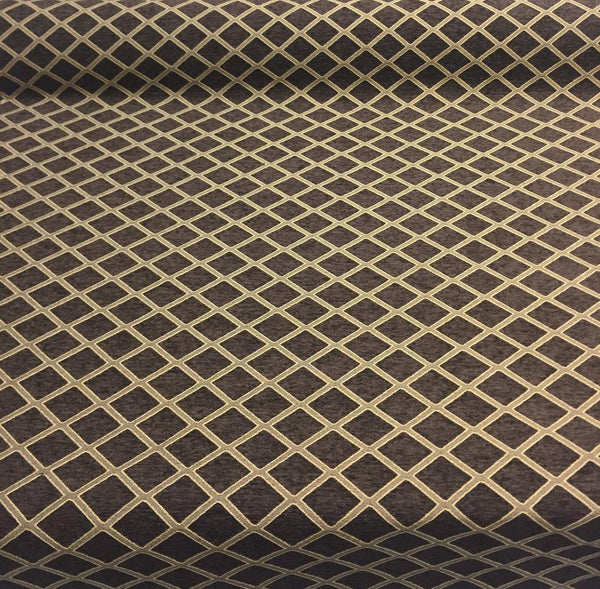 Chenille Dark Brown Gold Diamond Furniture Upholstery Fabric By The