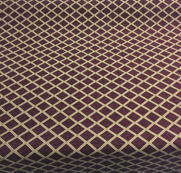 Chenille Wine Gold  Diamond furniture Upholstery fabric by the yard