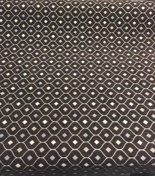 Dark Brown Silver Diamond  Fabric Chenille upholstery Fabric by the yard