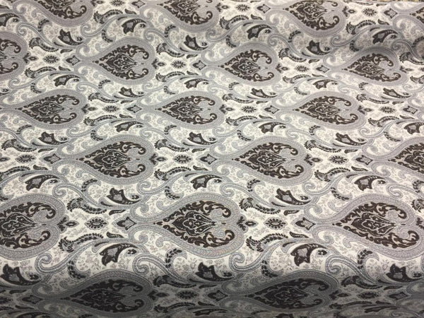 Dark Brown Silver Damask Fabric Chenille upholstery Fabric by the yard