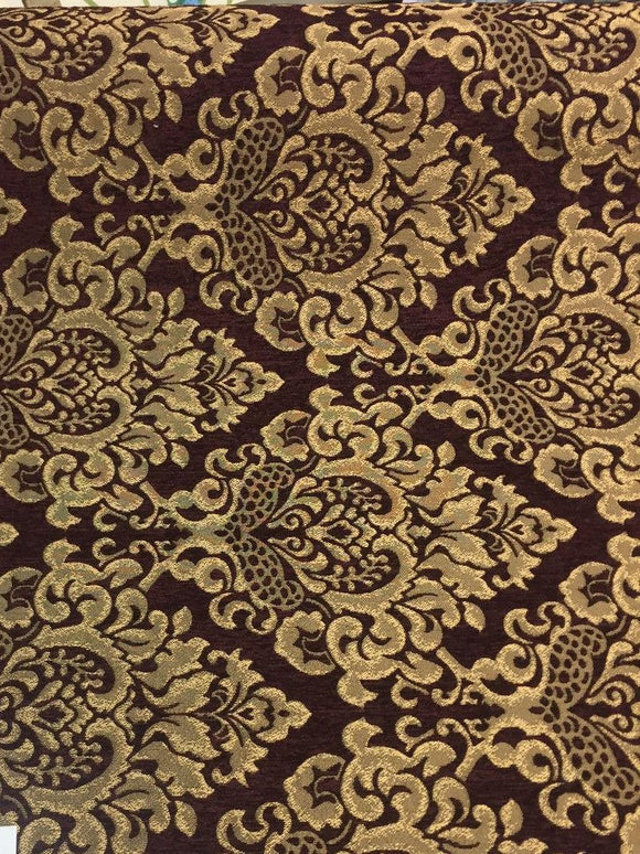 Chenille Upholstery Damask Wine Gold Cleopatra fabric By The Yard