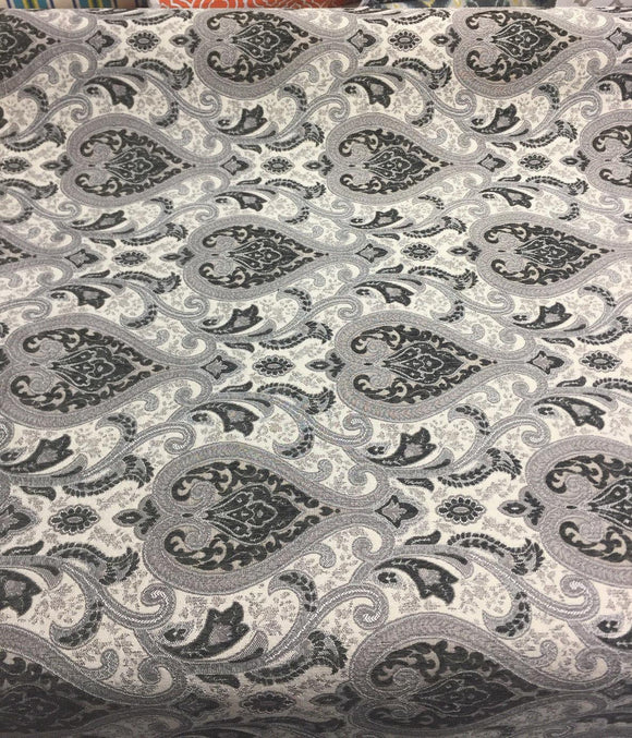 Charcoal Damask Fabric Chenille upholstery Fabric by the yard sofa chair couch