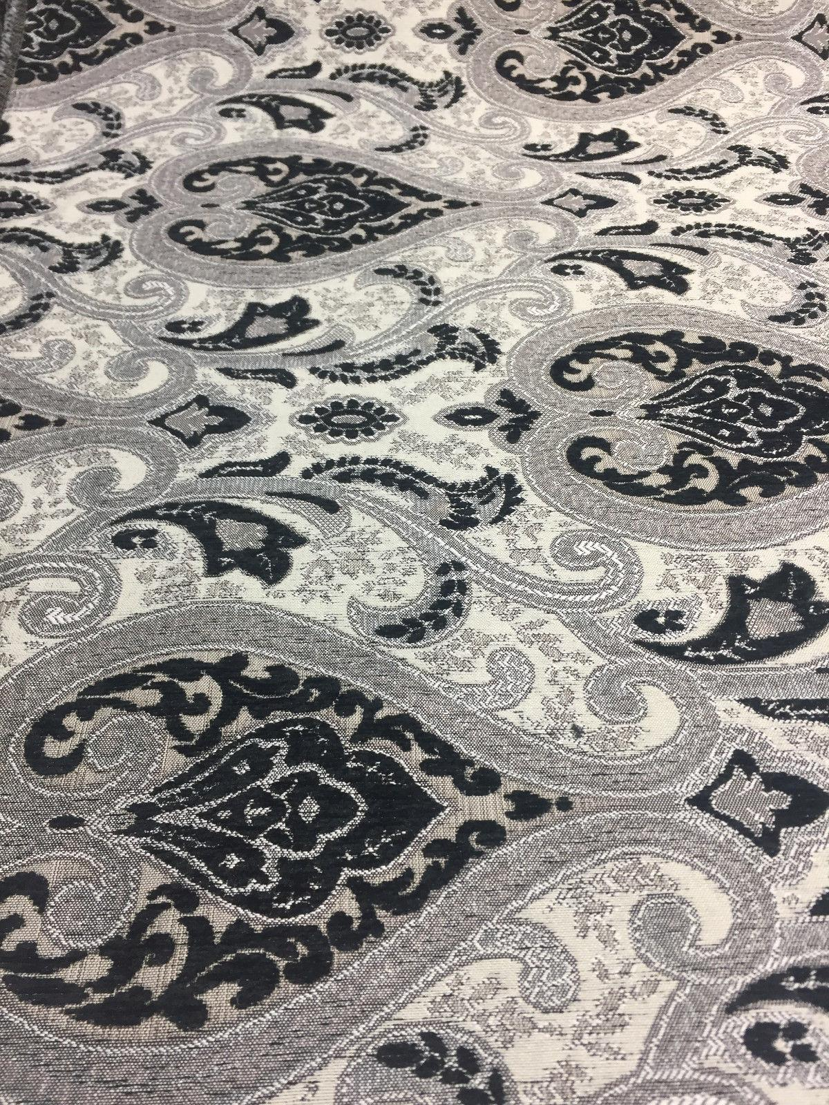 Black Silver Damask Fabric Chenille Upholstery Fabric By
