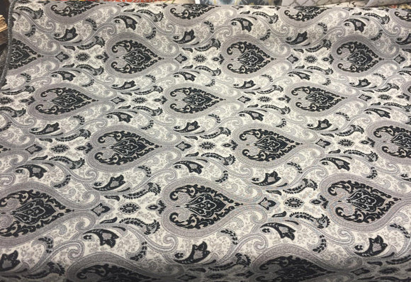 Black Silver Damask Fabric Chenille upholstery Fabric by the yard