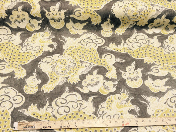 Dunmore Dragons Yellow, Beige Linen Upholstery Fabric PK  Multipurpose