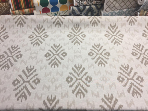 Ikat Beige Khaki Cotton Polyester Drapery Upholstery fabric by the yard