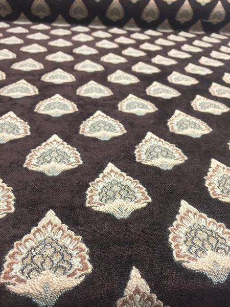 Emblem Chenille Fabric Brown Beige Upholstery By The Yard