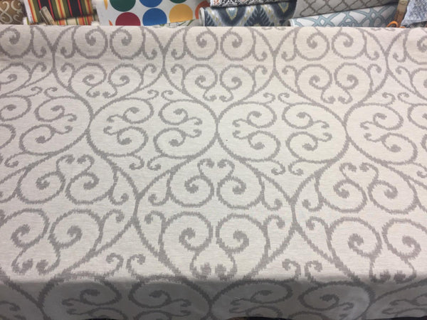 Scroll Linen Cotton Polyester Drapery Upholstery fabric by the yard