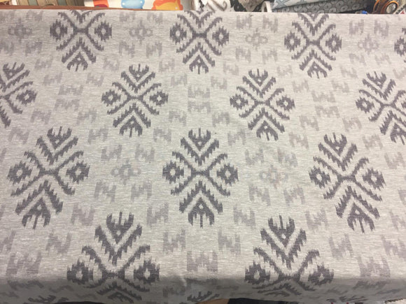 Ikat Charcoal Cotton Polyester Drapery Upholstery fabric by the yard