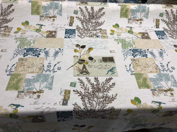 Richloom Brigitte Sky Blue Green  French Script Paris Floral Fabric By the yard