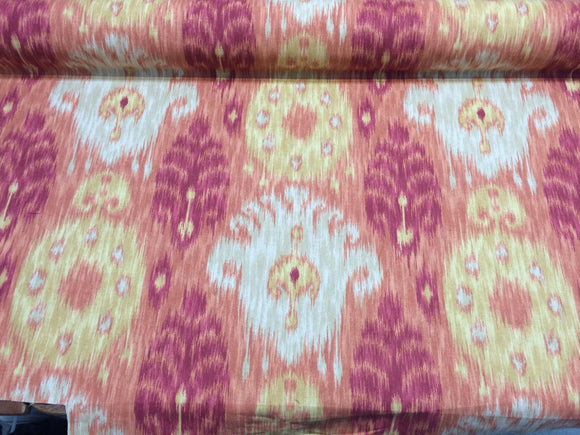 Home Accent Vibrant Ikat Red Multipurpose Cotton Fabric By the yard