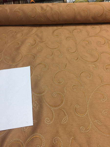 Copper Stiletto Scroll Modern embroidered scroll slub taffeta by the yard