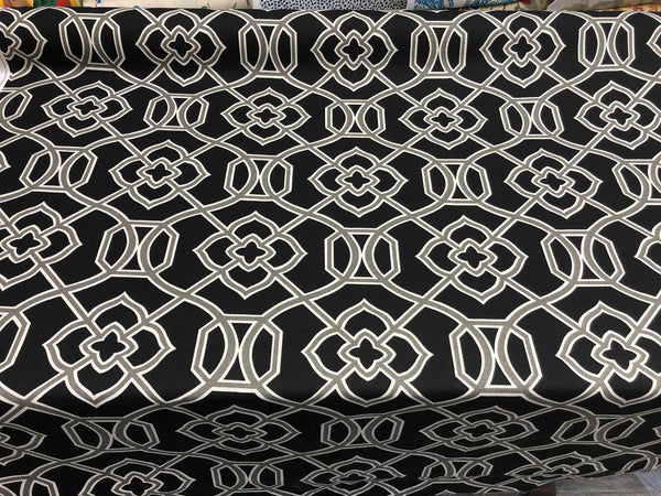 Richloom Malibar Black Silver Ebony Cotton Drapery Upholstery Fabric By the yard