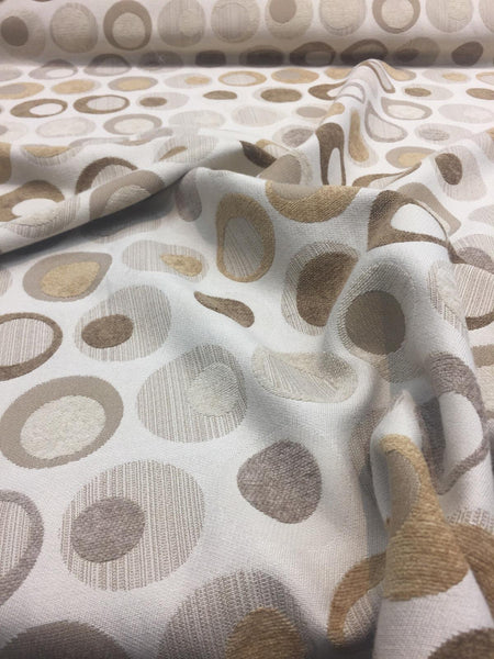 Marcovaldo Beige Circle Spots Chenille Fabric By the Yard Sofa chairs