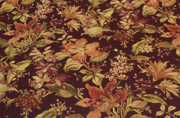 RICHLOOM Wentworth BURGUNDY RED FLORAL LINEN FABRIC BY THE YARD