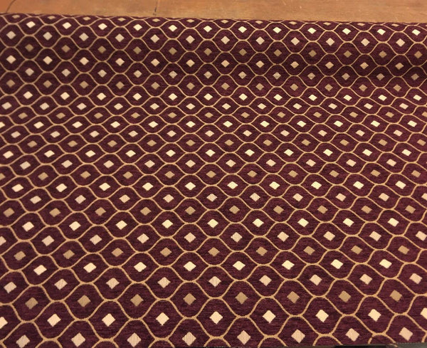 Mercedes Wine Damask Fabric Chenille upholstery fabric by the yard sofa couch