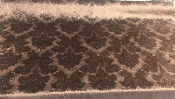 Italian Cut Chocolate damask Cotton Embossed Upholstery fabric By the yard