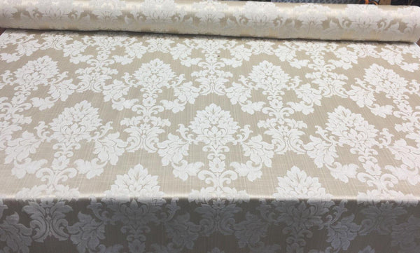 Grove Damask Deluxe Ivory Drapery reversible 60'' Fabric By the yard