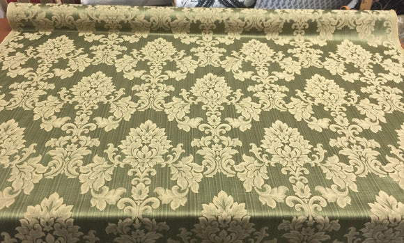 Grove Damask Deluxe Forest Drapery reversible 60'' Fabric By the yard