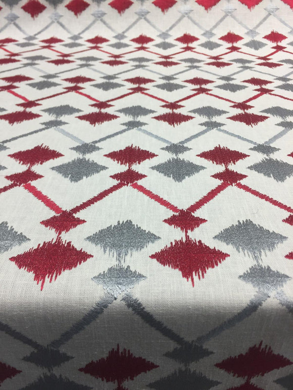 red silver embroidered fabric