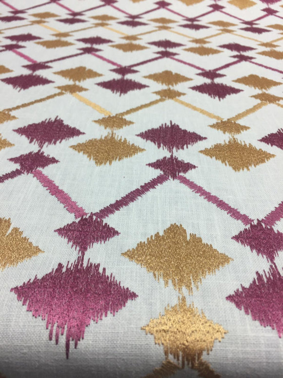 Bali Embroidered Raspberry Lavander and gold  Polyester Cotton fabric by the yard