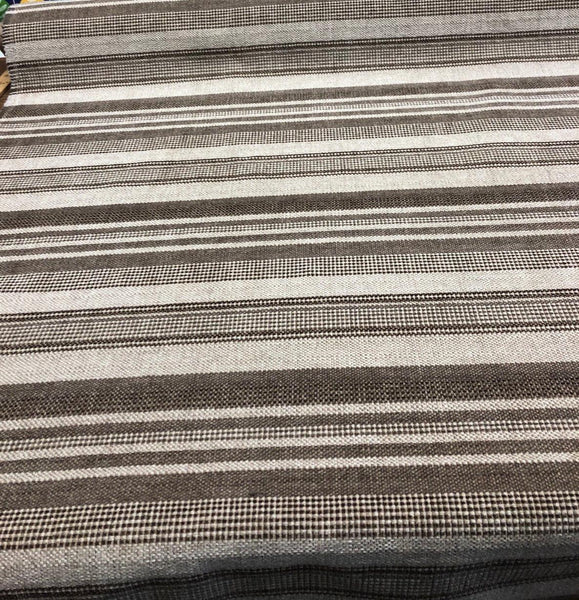 Richloom Mocha Stripes Heavy Upholstery with backing fabric by the yard