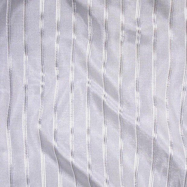P Kaufmann Crossing Elegant Silver Stripe Sheer fabric 120'' By the yard