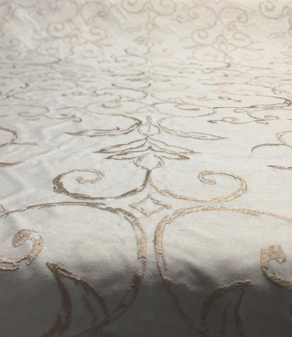 Tulsa Damask Medallion Embroidered Bone Fabric drapery By the Yard