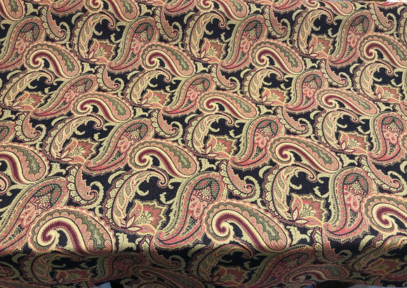 Fabricut Black Rust Paisley Milan Ebony Upholstery Drapery fabric by the yard