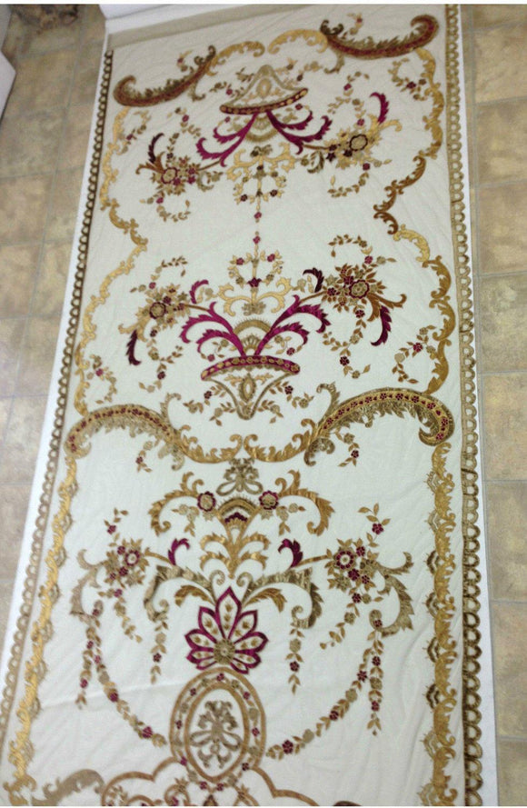 Italian Embroidered Velvet Sheer Neron Gold With Wine Lined Ready made curtain