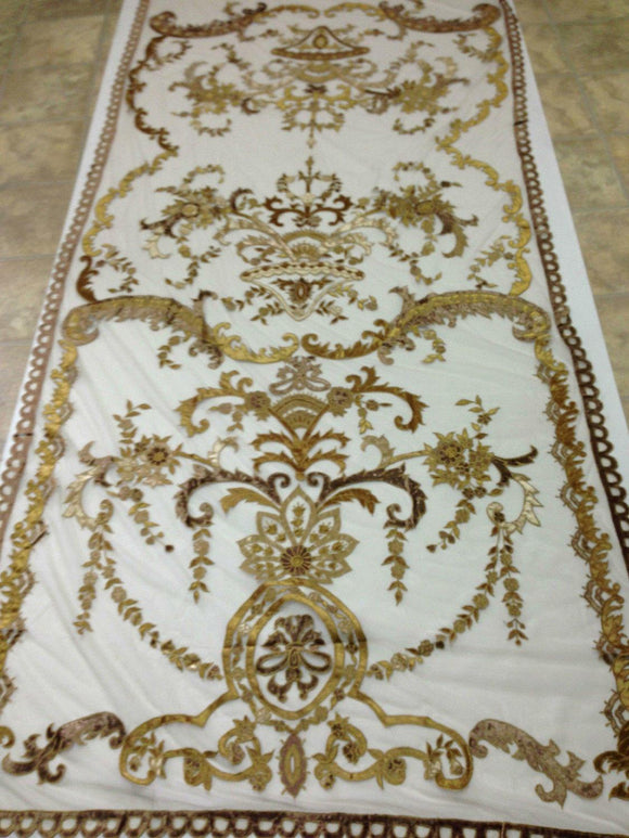Italian Embroidered Velvet Sheer Neron Gold Lined Ready Made Curtain