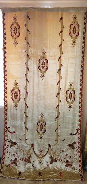 CARLOTTA Embroidered Silk Velvet Fabric Ready Made Panel  Butter With Burgundy