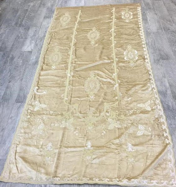 Italian Embroidered Versaille ready made drape Velvet lined - Off White Curtain
