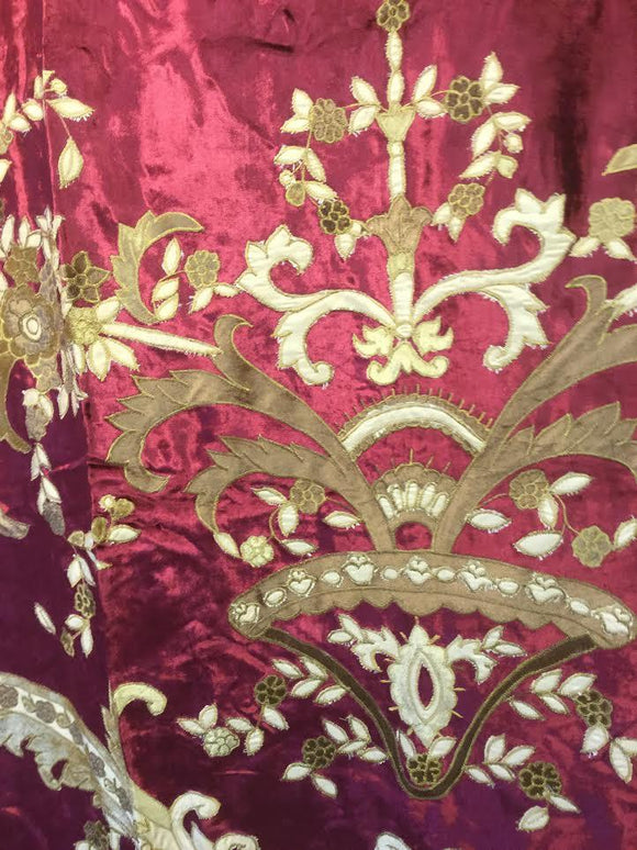 ITALIAN BELLESA Embroidered Velvet Fabric Drapes Panel Burgundy Crimson Gold