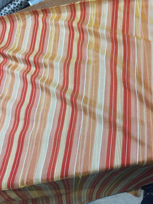 Red with Gold Sheer Beautifull stripes 120'' inch double width Fabric By the yard
