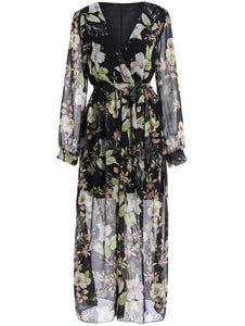 Plus Size Chiffon Maxi Floral Dress - Black - 3xl - Azura Rose