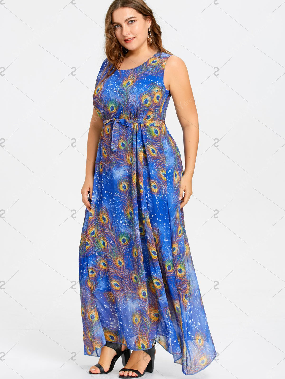 Plus Size Peacock Feather Print Maxi Chiffon Dress - Blue - 5xl - Azura Rose