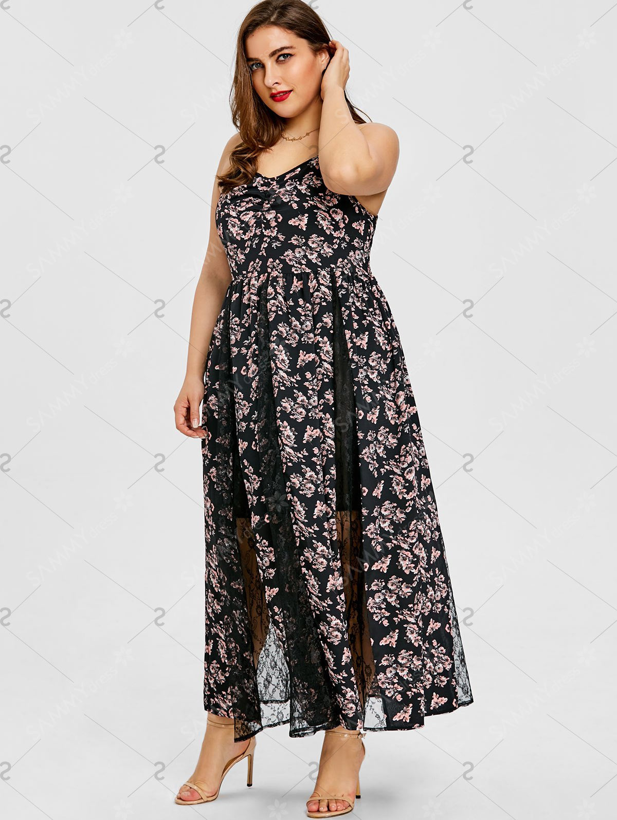 Plus Size Floral Print Lace Insert Maxi Dress - Black - 3xl - Azura Rose