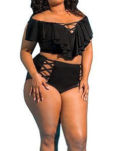Sibylla Womens Plus Size Off The Shoulder Ruffles Bikini Sets High Waist Hollow Out Bathing Suit Swimsuits - Azura Rose